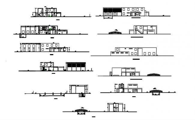 Architecture House Elevation Design In AutoCAD File