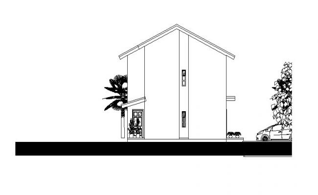 Download Free House Elevation Drawing In DWG File