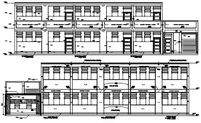 Elevation drawing of school in dwg file