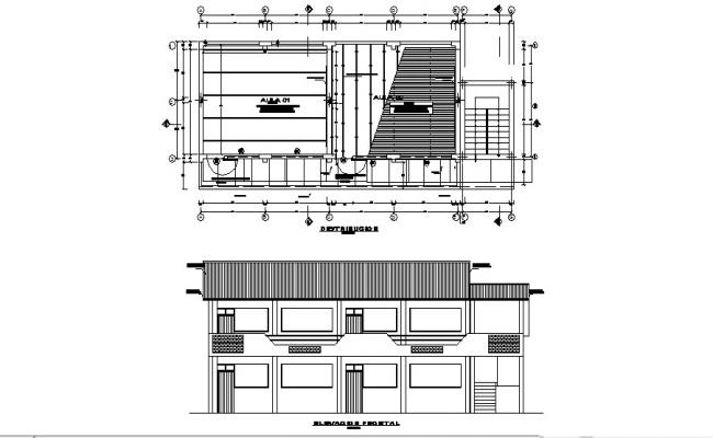 Elevation drawing of school with detail dimension in dwg file