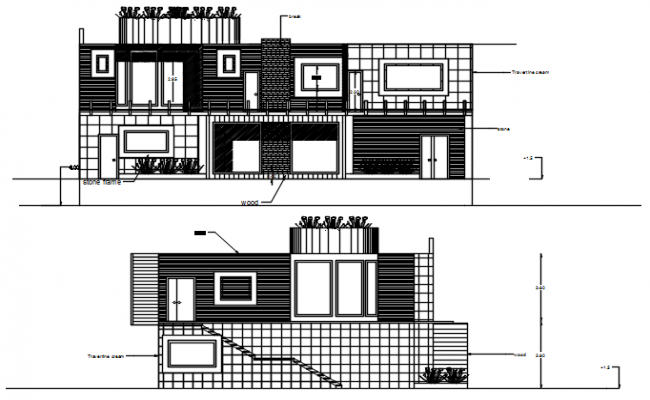 Elevation drawing of the bungalow in dwg file