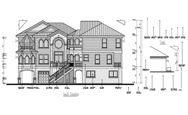 Elevation drawing of the bungalow with detail dimension in AutoCAD