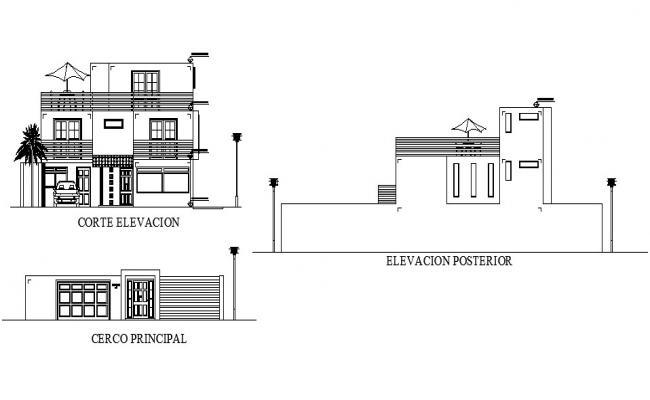 Elevation drawing of the bungalow with detail dimension in AutoCADv