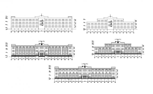 Elevation drawing of the hospital with detail dimension in dwg file