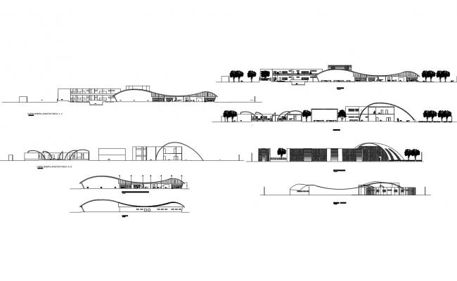 Elevation drawing of the hotel design in dwg file