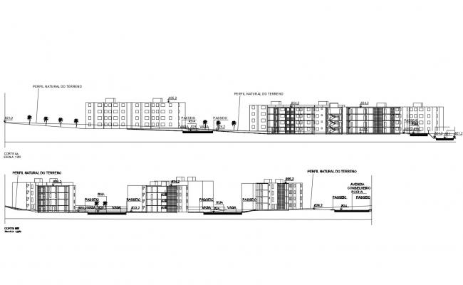 Elevation drawing of the residential building with detail dimension in dwg file