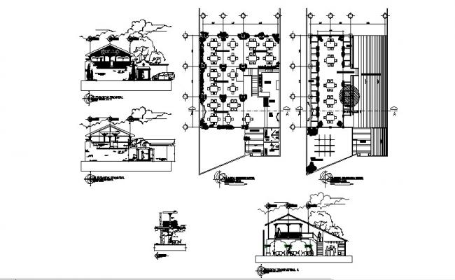 Elevation drawing of the restaurant with detail dimension in dwg file