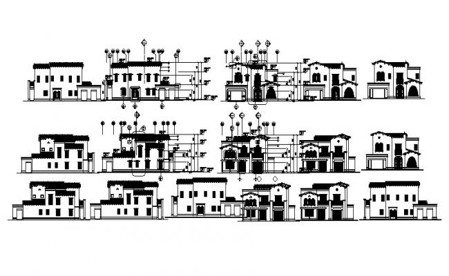 Elevation drawing of the villa with detail dimension in dwg file