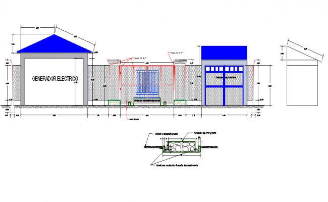 Elevation electrical substation detail dwg file