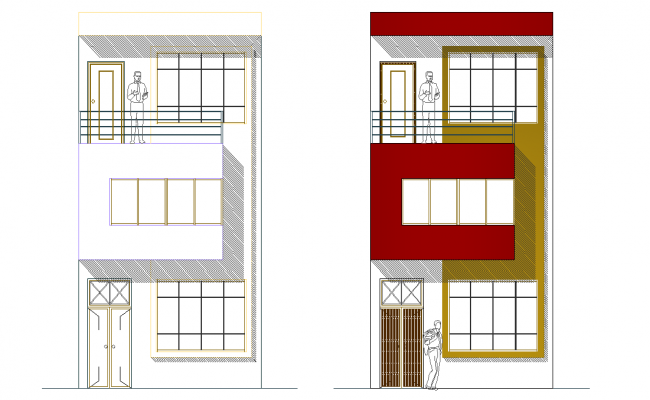 Elevation home plan detail autocad file