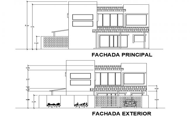 Elevation home plan detail dwg file