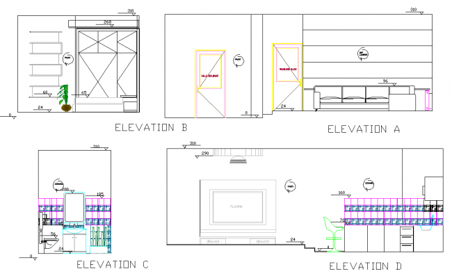 Elevation home plan dwg file