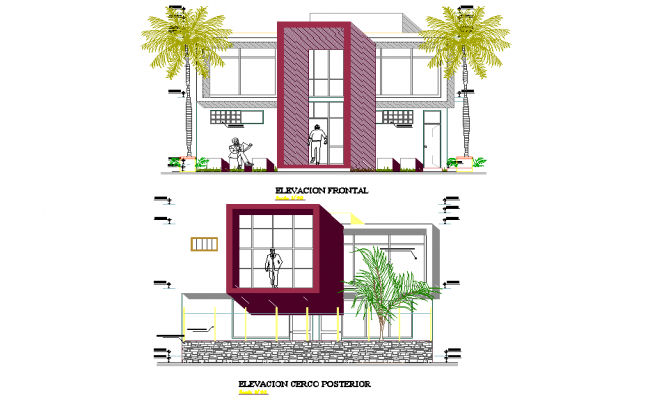 Elevation home plan layout file