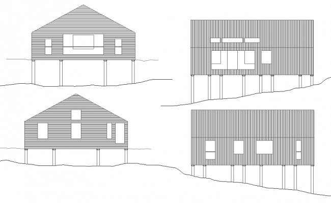 Elevation house plan autocad file