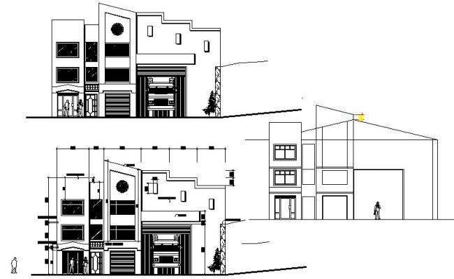 Elevation house plan detail dwg file