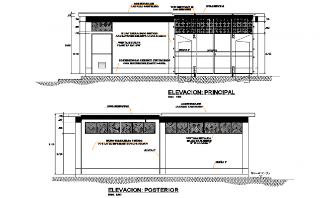 Elevation house plan layout file