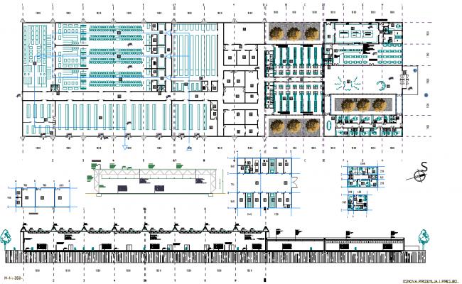 Elevation industrial buildings plan detail dwg file