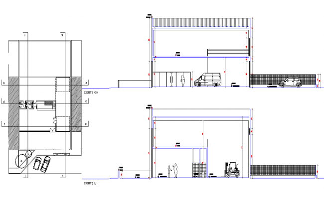 Elevation industrial pavilion deposit plan detail dwg file