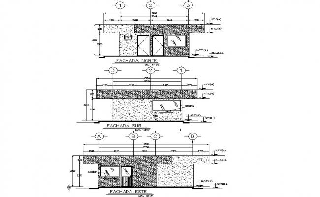 Elevation industrial plant detail dwg file