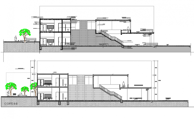 Elevation market in concrete plan detail dwg file