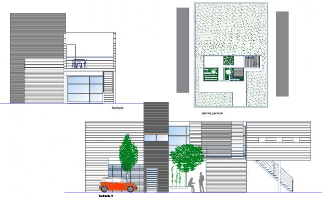 Elevation modern house layout file