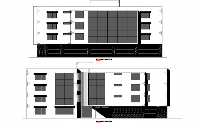 Elevation multi family plan detail dwg file