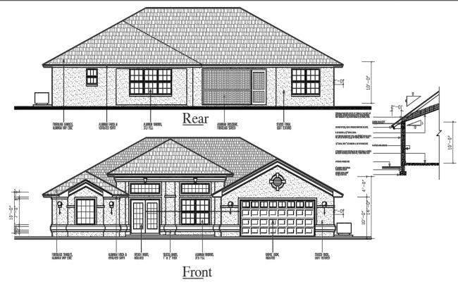 Elevation of  House dwg file