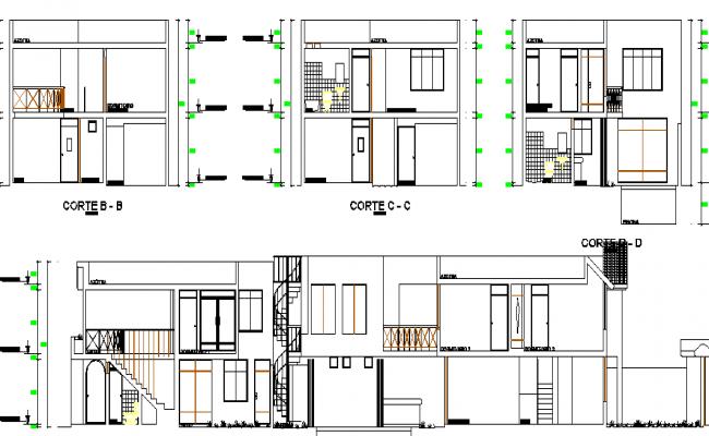 Elevation of  a big bungalow design dwg file