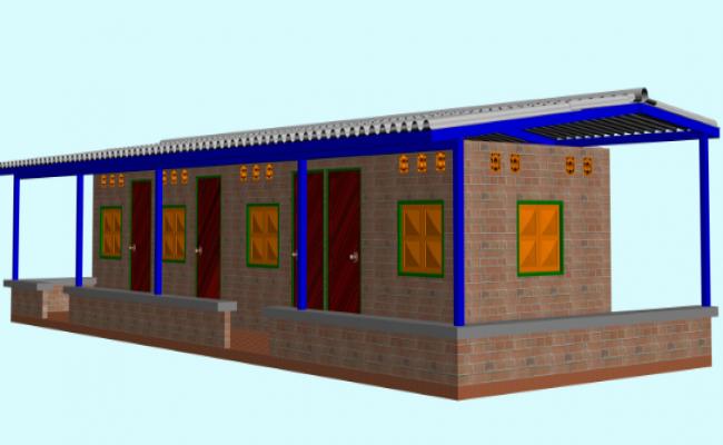 Elevation of  hut shelter based 3d file