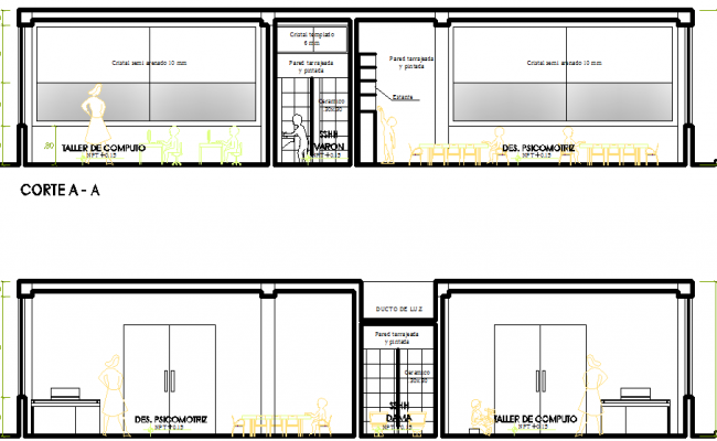 Elevation of Administration building  dwg file