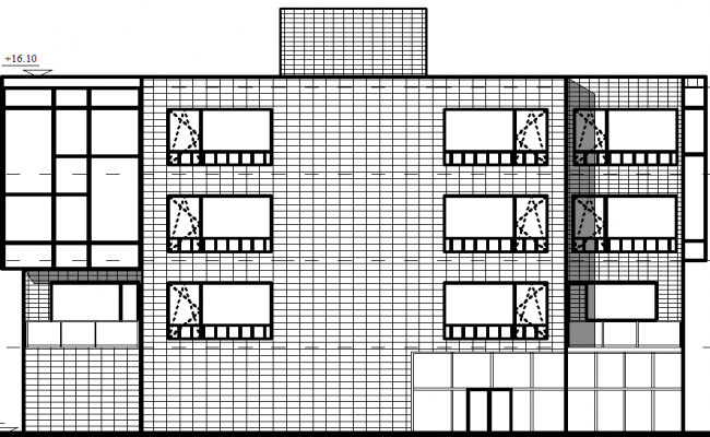 Elevation of Office building 3 floors  dwg file
