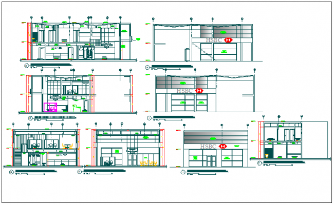 Elevation of a bank dwg file