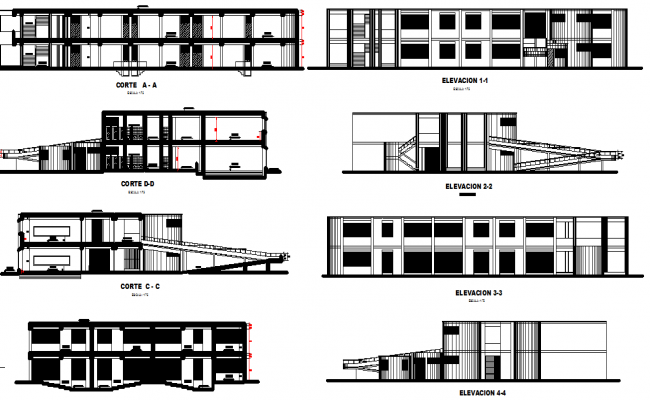 Elevation of a big college and education center dwg file