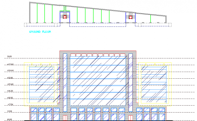 Elevation of a building and sectional details dwg file