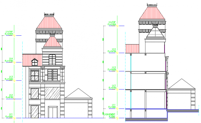 Elevation of a bungalow with level detailing dwg file