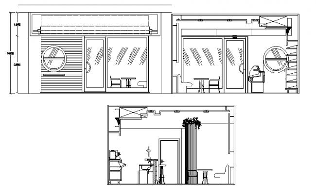 Elevation of a cafe dwg file