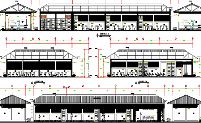 Elevation of a college dwg file