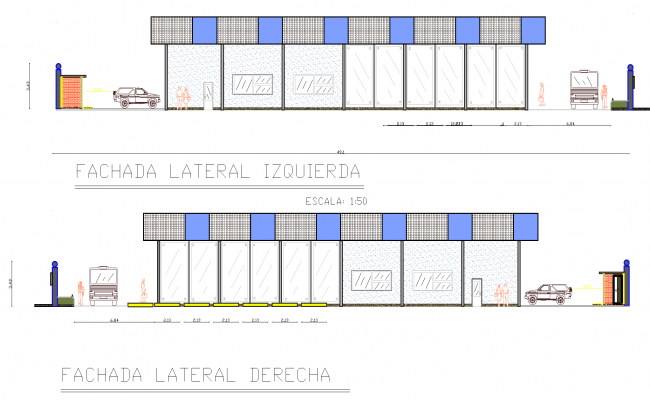Elevation of a commercial plan detail dwg file.