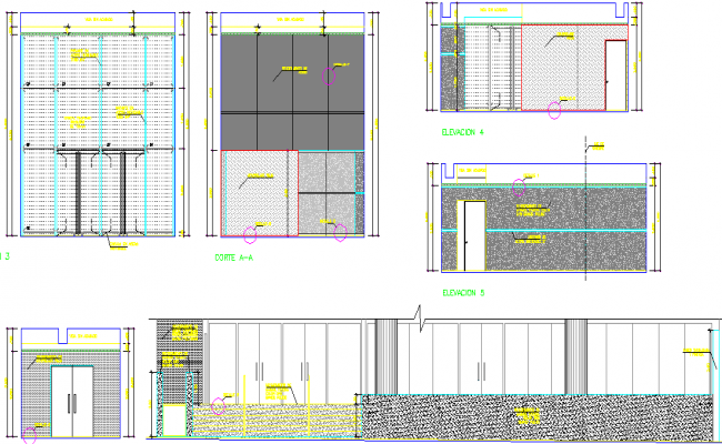 Elevation of a lobby office dwg file