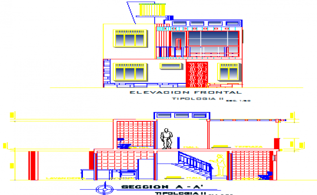 Elevation of a modern bungalow and its interior details dwg file