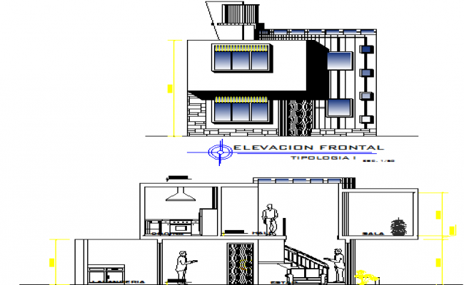 Elevation of a modern bungalow & its interior sectional details dwg file