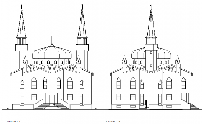Elevation of a mosque detail