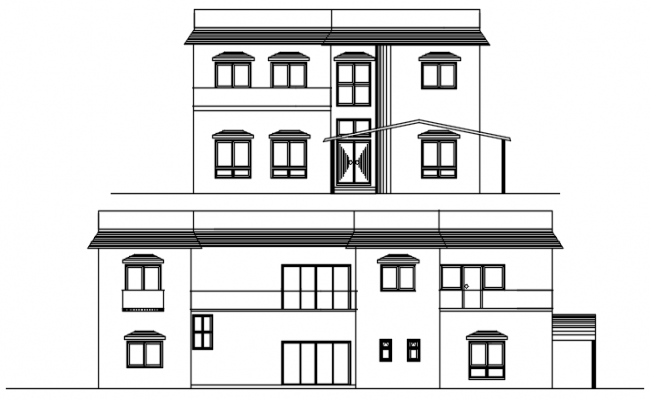 Elevation of a residential bungalow in dwg file