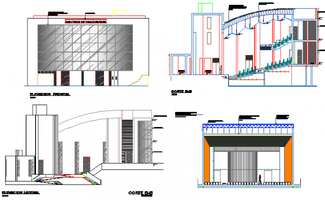 Elevation of a university dwg file