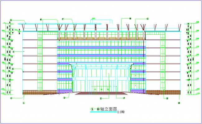 Elevation of apartment with necessary dimension dwg file