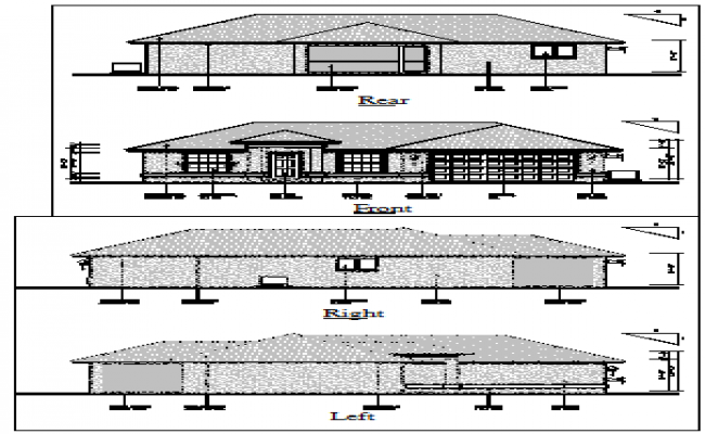 Elevation of bungalow design drawing with roof style