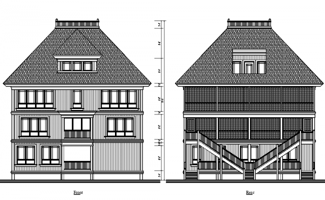 Elevation of bunglow dwg file