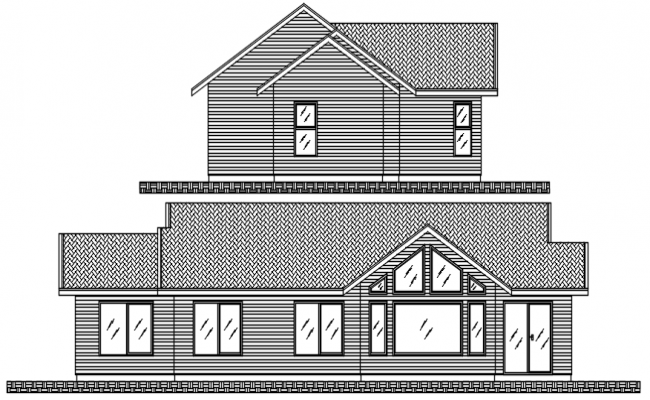 Elevation of bunglow in dwg file