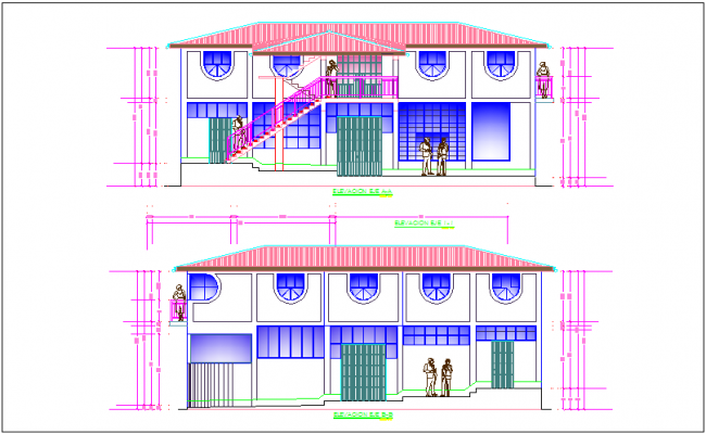 Elevation of communal office building with axis A-A and B-B dwg file
