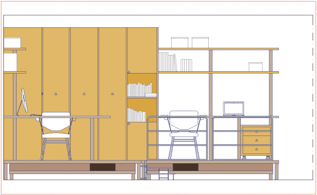 Elevation of cupboard with furniture view dwg file